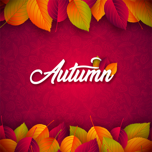 Beautiful autumn background art vector 05
