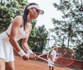 Beautiful female tennis player Stock Photo 05