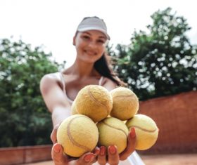 Beautiful female tennis player Stock Photo 06