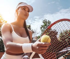 Beautiful female tennis player Stock Photo 07