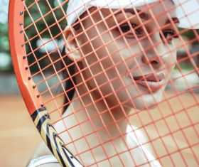 Beautiful female tennis player Stock Photo 10