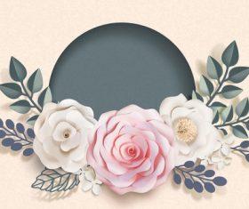 Beautiful flower card template vector 02