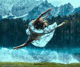 Beautiful woman dancing Stock Photo 01