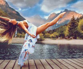 Beautiful woman dancing Stock Photo 02
