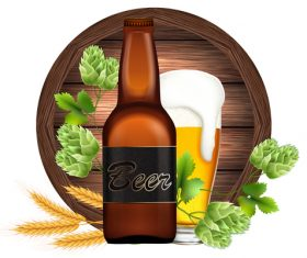 Beer with wood sign vector