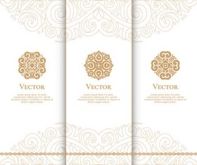 Beige tri-fold invitation card template vector 01