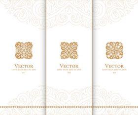 Beige tri-fold invitation card template vector 02