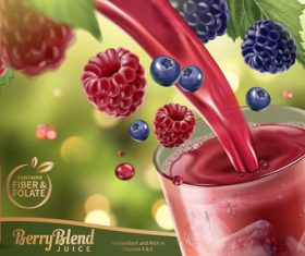 Berry juice adv poster template vector 01