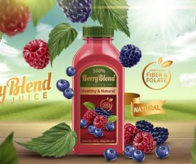 Berry juice adv poster template vector 02