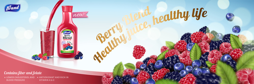 Berry juice adv poster template vector 03