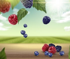 Berry with natural background vector 01