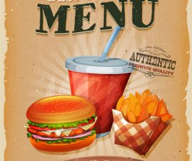 Best to town menu poster template retro vector 01