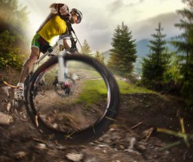 Bicycle cross-country competition Stock Photo