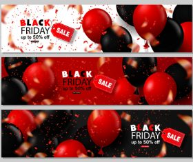 Black Friday sale banenrs with colored balloon vector