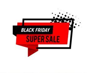 Black Friday super sale banner red vector