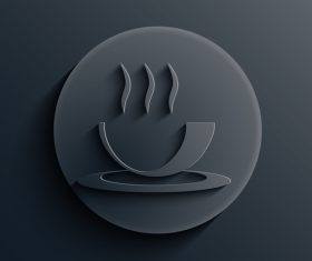 Black coffee cup background vector