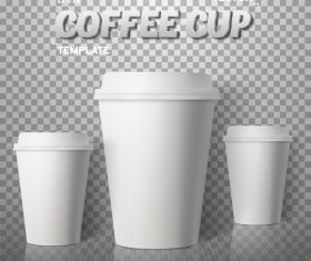Blank white coffee paper cup vectors material
