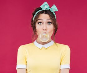 Blowing Bubble Gum people Stock Photo 02