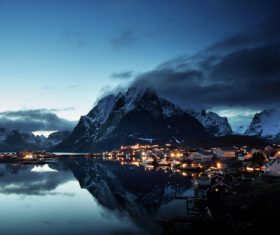 Brightly lit Norwegian Bay town at night Stock Photo 01