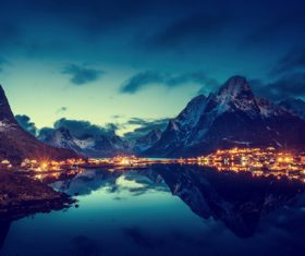 Brightly lit Norwegian Bay town at night Stock Photo 02