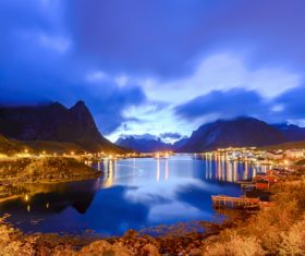 Brightly lit Norwegian Bay town at night Stock Photo 05