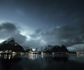 Brightly lit Norwegian Bay town at night Stock Photo 06