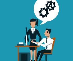 Businessmen team with Internet office vector material 02