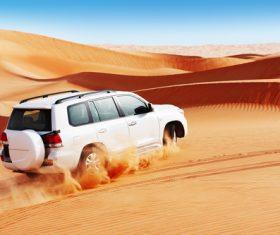 Car in the desert Stock Photo