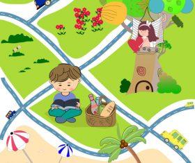 Cartoon city map illustration vector