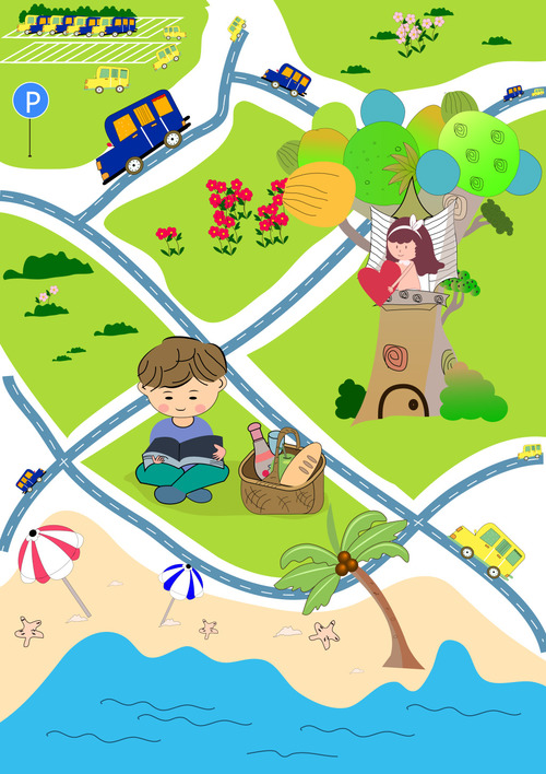 Cartoon city map illustration vector free download on