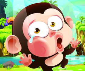 Cartoon crying monkey vector