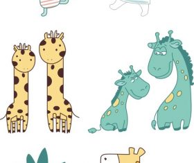 Cartoon cute animal material vector