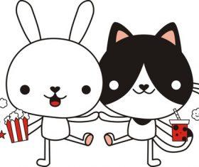 Cartoon cute animal vector pattern