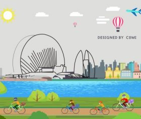 Cartoon cycling travel and landscape illustration vector