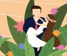 Cartoon groom hugging bride wedding invitation vector