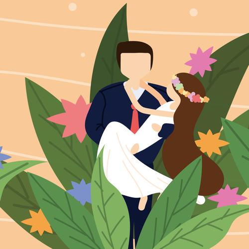Cartoon groom hugging bride wedding invitation vector