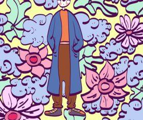 Cartoon handsome boy vector illustration