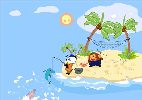 Cartoon illustration fishing vector