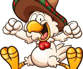 Cartoon mexican chicken vector illustration