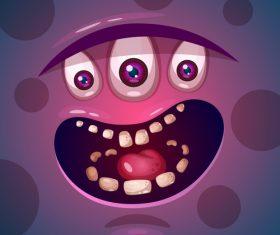 Cartoon monster face background vector 01