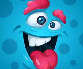 Cartoon monster face background vector 04