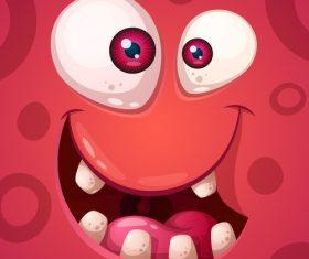 Cartoon monster face background vector 05