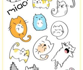 Cartoon multi-emotional cat vector pattern