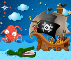 Cartoon pirate with big monster vector