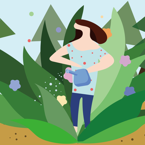 Cartoon woman watering plants vector