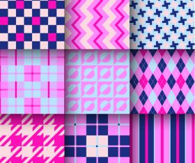 Checkered seamless pattern design vectors set 24