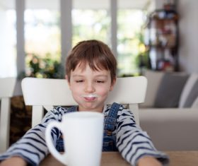 Child drink milk Stock Photo 02