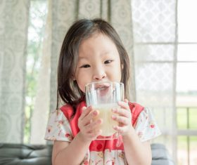 Child drink milk Stock Photo 05