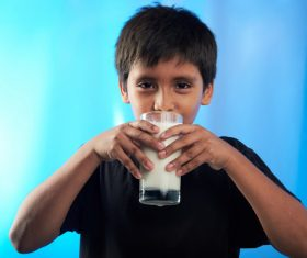 Child drink milk Stock Photo 06