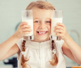 Child drink milk Stock Photo 07